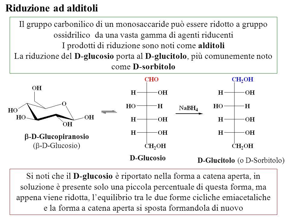 Riduzione ad alditoli Il gruppo carbonilico di un monosaccaride può essere ridotto a gruppo ossidrilico da una vasta gamma di agenti riducenti I prodo