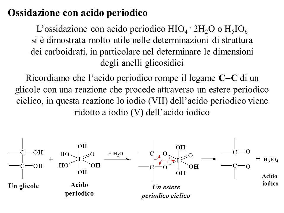 L'ossidazione con acido periodico HIO 4. 2H 2 O o H 5 IO 6 si è dimostrata molto utile nelle determinazioni di struttura dei carboidrati, in particola
