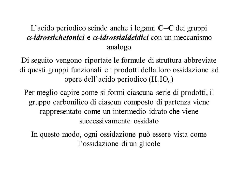 L'acido periodico scinde anche i legami C  C dei gruppi  -idrossichetonici e  -idrossialdeidici con un meccanismo analogo Di seguito vengono riport
