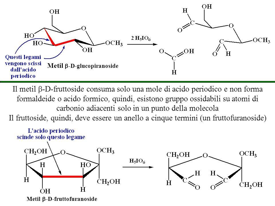 Metil   -D-glucopiranoside Metil  -D-fruttofuranoside Il metil  -D-fruttoside consuma solo una mole di acido periodico e non forma formaldeide o