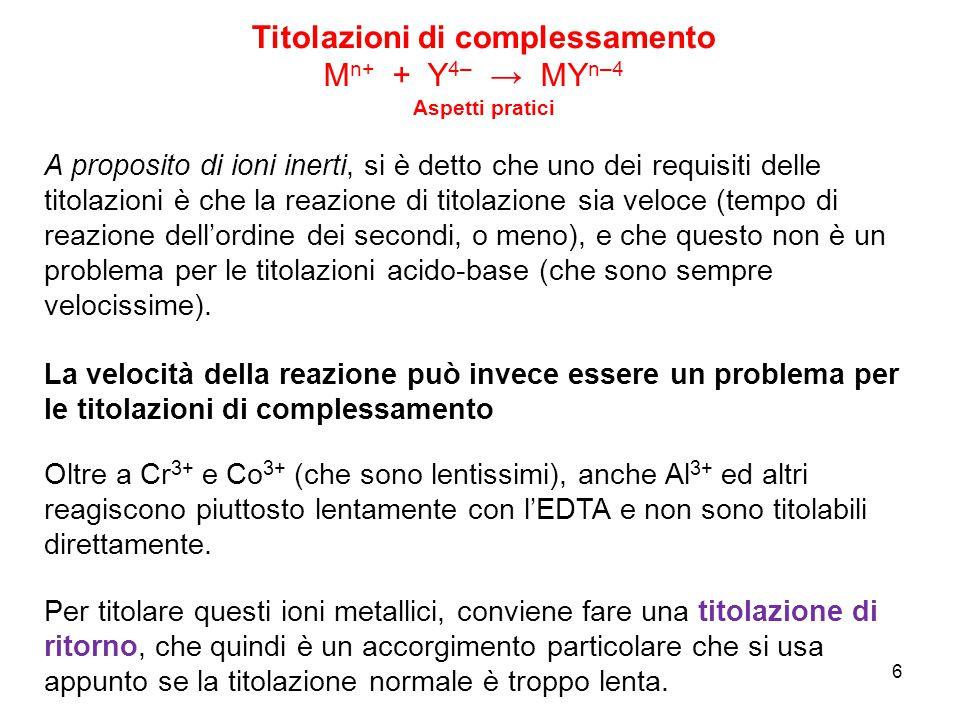 7 1) la soluzione di ione metallico lento (per es.