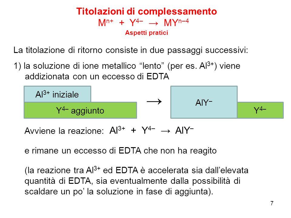 """7 1) la soluzione di ione metallico """"lento"""" (per es. Al 3+ ) viene addizionata con un eccesso di EDTA La titolazione di ritorno consiste in due passag"""