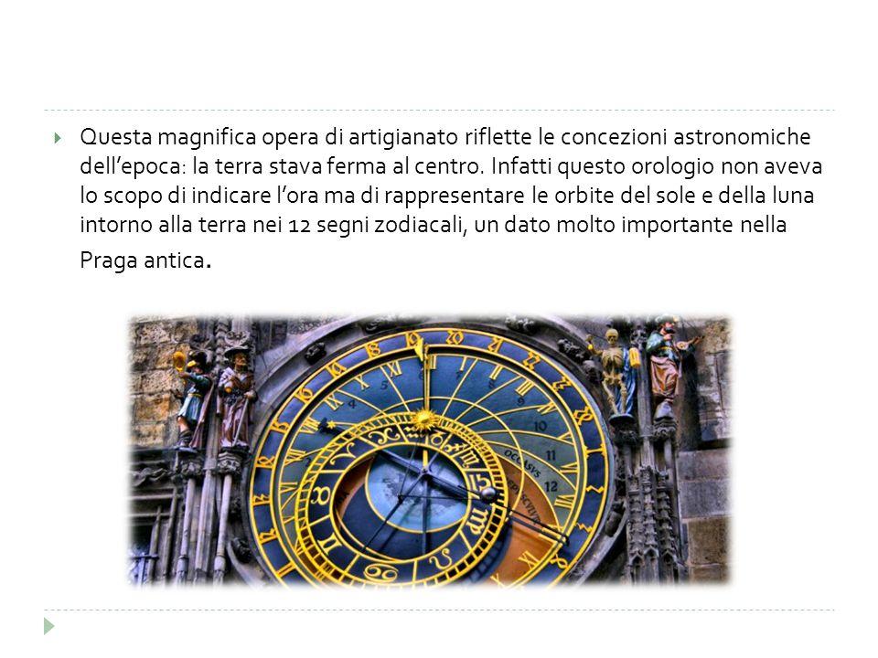  Questa magnifica opera di artigianato riflette le concezioni astronomiche dell'epoca: la terra stava ferma al centro. Infatti questo orologio non av