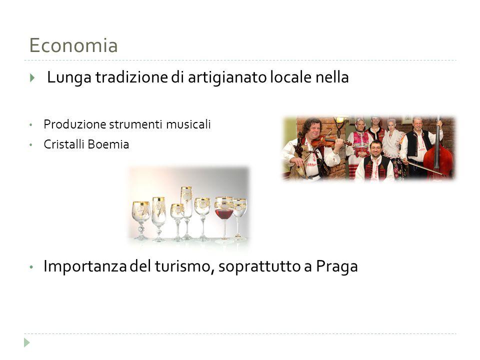 Economia  Lunga tradizione di artigianato locale nella Produzione strumenti musicali Cristalli Boemia Importanza del turismo, soprattutto a Praga