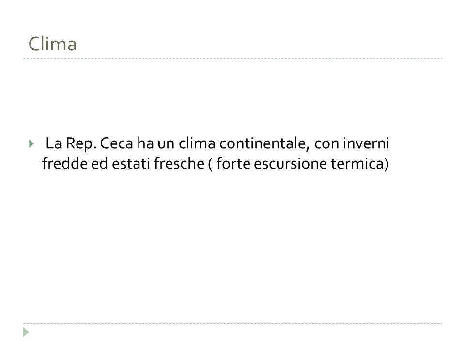 Clima  La Rep. Ceca ha un clima continentale, con inverni fredde ed estati fresche ( forte escursione termica)
