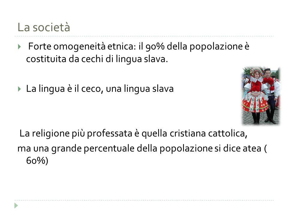 La società  Forte omogeneità etnica: il 90% della popolazione è costituita da cechi di lingua slava.  La lingua è il ceco, una lingua slava La relig