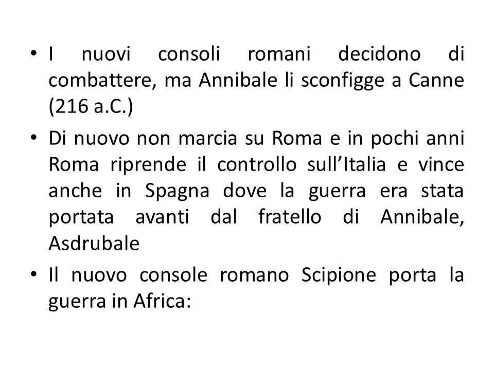 I nuovi consoli romani decidono di combattere, ma Annibale li sconfigge a Canne (216 a.C.) Di nuovo non marcia su Roma e in pochi anni Roma riprende i