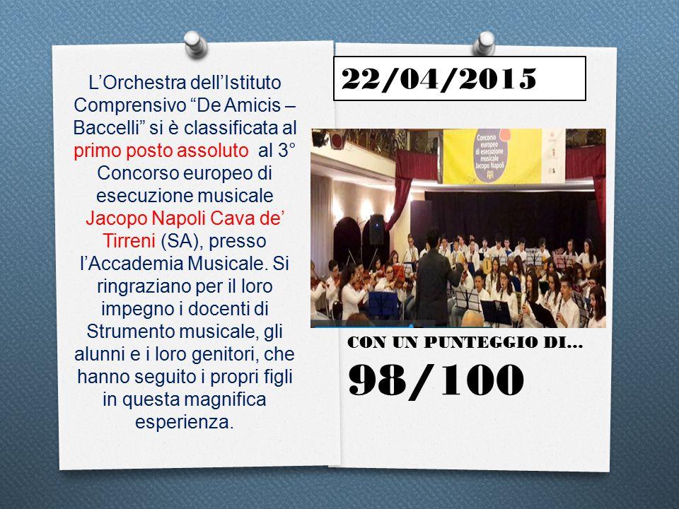 La magnifica Orchestra dell Istituto Comprensivo De Amicis - Baccelli ha vinto il PRIMO PREMIO ASSOLUTO all VIII Concorso Musicale Nazionale Marco Dall Aquila (L Aquila) con il punteggio di 98/100.
