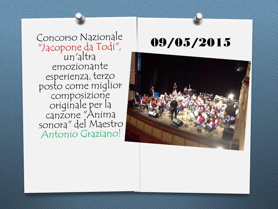 Concorso Nazionale Jacopone da Todi , un altra emozionante esperienza, terzo posto come miglior composizione originale per la canzone Anima sonora del Maestro Antonio Graziano.