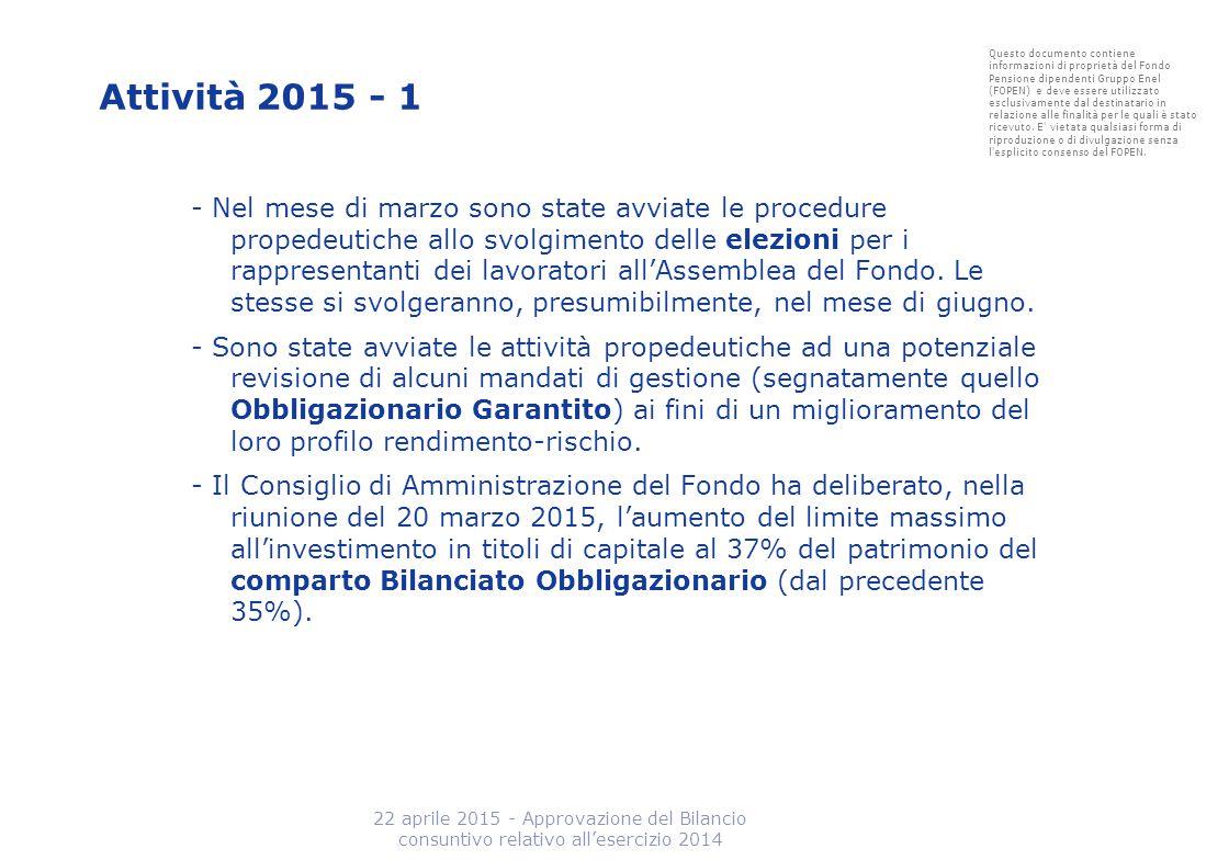 Attività 2015 - 1 - Nel mese di marzo sono state avviate le procedure propedeutiche allo svolgimento delle elezioni per i rappresentanti dei lavorator