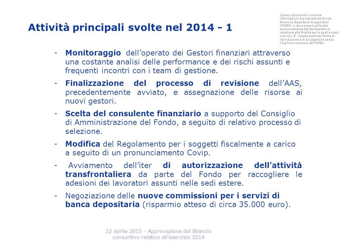 Attività principali svolte nel 2014 - 1 -Monitoraggio dell'operato dei Gestori finanziari attraverso una costante analisi delle performance e dei risc