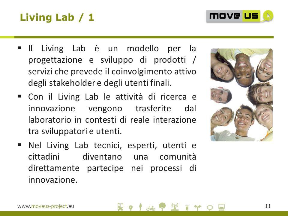 www.moveus-project.eu11 Living Lab / 1  Il Living Lab è un modello per la progettazione e sviluppo di prodotti / servizi che prevede il coinvolgimento attivo degli stakeholder e degli utenti finali.