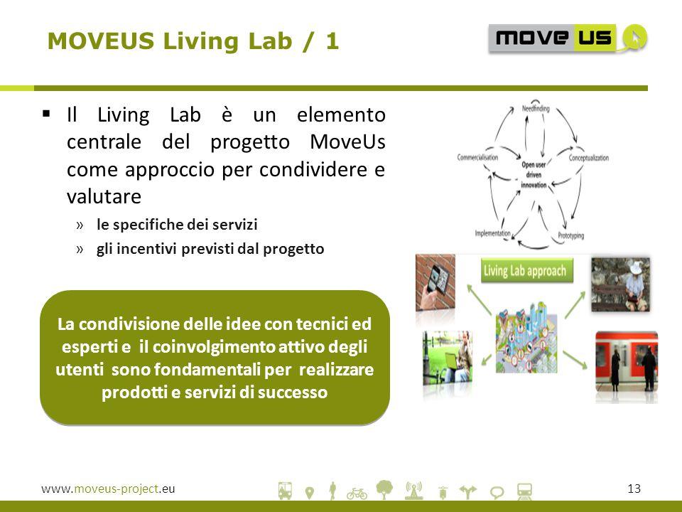www.moveus-project.eu13 La condivisione delle idee con tecnici ed esperti e il coinvolgimento attivo degli utenti sono fondamentali per realizzare prodotti e servizi di successo MOVEUS Living Lab / 1  Il Living Lab è un elemento centrale del progetto MoveUs come approccio per condividere e valutare »le specifiche dei servizi »gli incentivi previsti dal progetto