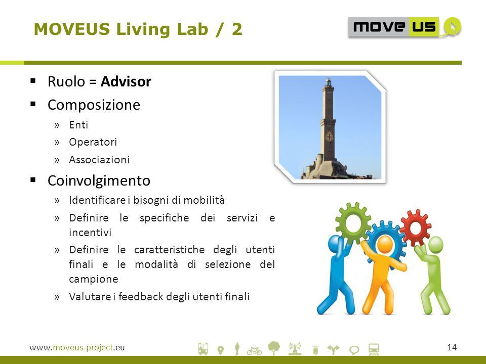 www.moveus-project.eu14 MOVEUS Living Lab / 2  Ruolo = Advisor  Composizione »Enti »Operatori »Associazioni  Coinvolgimento »Identificare i bisogni di mobilità »Definire le specifiche dei servizi e incentivi »Definire le caratteristiche degli utenti finali e le modalità di selezione del campione »Valutare i feedback degli utenti finali