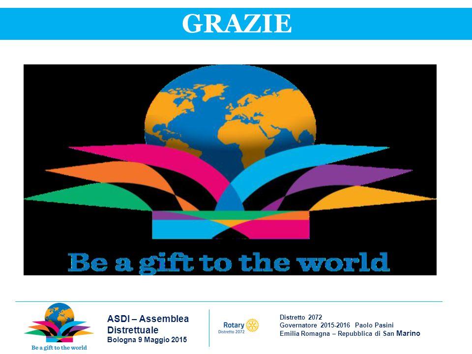 Distretto 2072 Governatore 2015-2016 Paolo Pasini Emilia Romagna – Repubblica di San Marino ASDI – Assemblea Distrettuale Bologna 9 Maggio 2015 GRAZIE