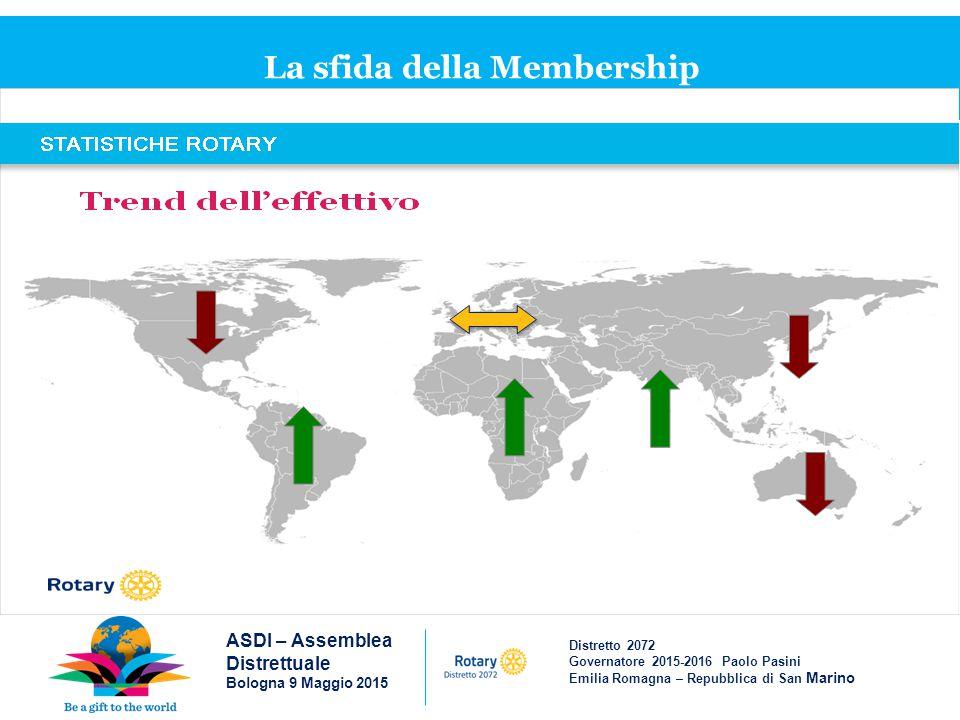 Distretto 2072 Governatore 2015-2016 Paolo Pasini Emilia Romagna – Repubblica di San Marino La sfida della Membership ASDI – Assemblea Distrettuale Bologna 9 Maggio 2015