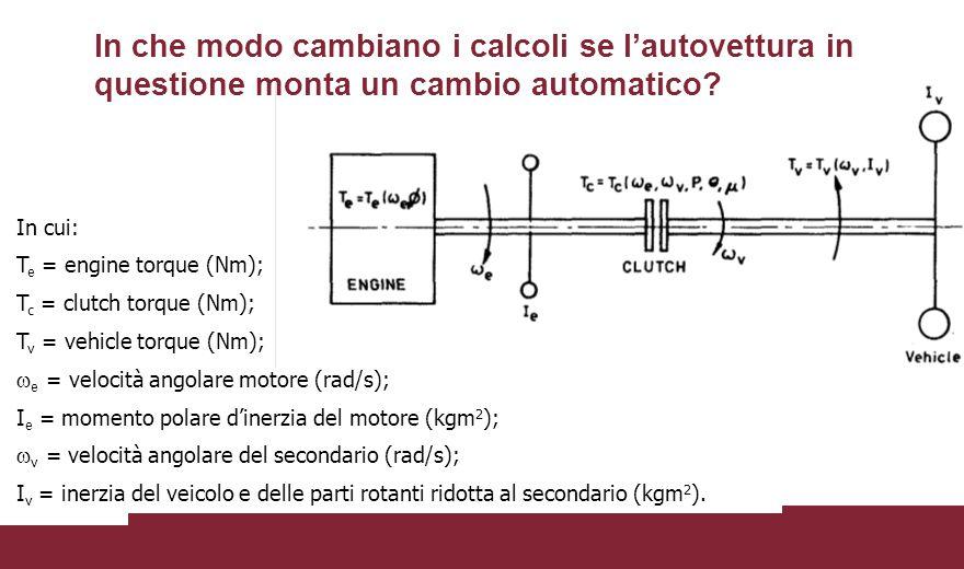 In cui: T e = engine torque (Nm); T c = clutch torque (Nm); T v = vehicle torque (Nm);  e = velocità angolare motore (rad/s); I e = momento polare d'inerzia del motore (kgm 2 );  v = velocità angolare del secondario (rad/s); I v = inerzia del veicolo e delle parti rotanti ridotta al secondario (kgm 2 ).