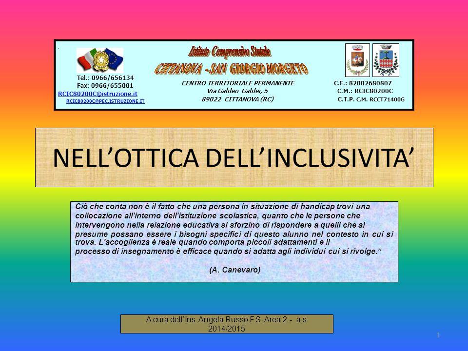 NELL'OTTICA DELL'INCLUSIVITA' Ciò che conta non è il fatto che una persona in situazione di handicap trovi una collocazione all'interno dell'istituzio