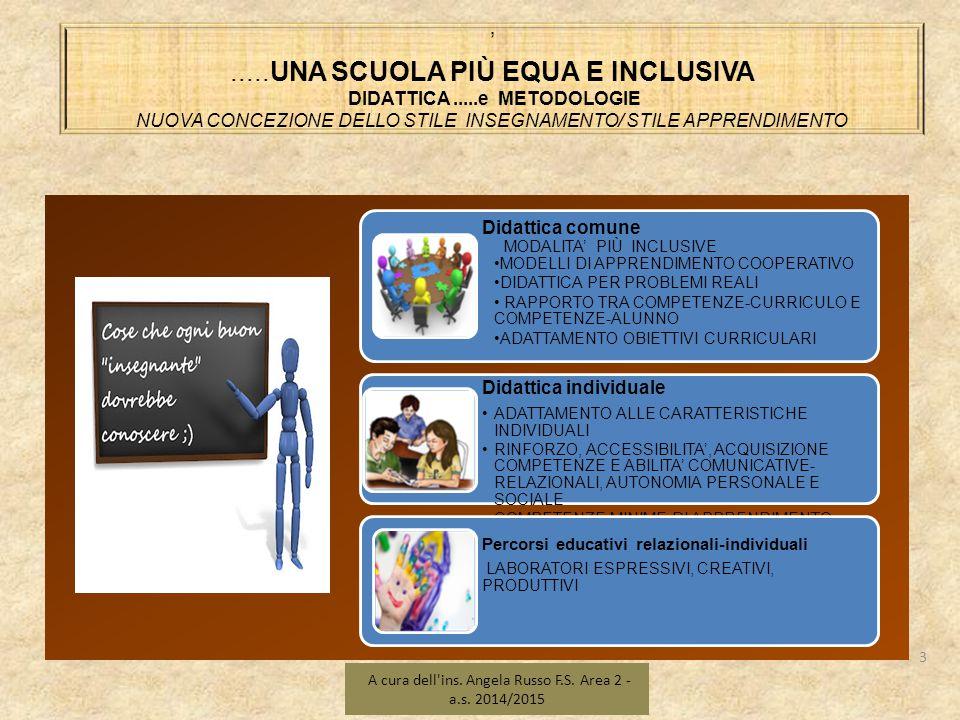 NELL'OTTICA DELL'INCLUSIVITÀ....UNA SCUOLA PIÙ EQUA E INCLUSIVA 14 A cura dell ins.