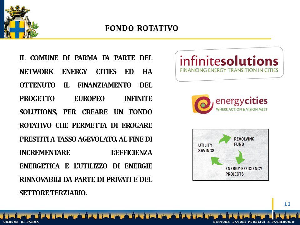 FONDO ROTATIVO 11 IL COMUNE DI PARMA FA PARTE DEL NETWORK ENERGY CITIES ED HA OTTENUTO IL FINANZIAMENTO DEL PROGETTO EUROPEO INFINITE SOLUTIONS, PER C