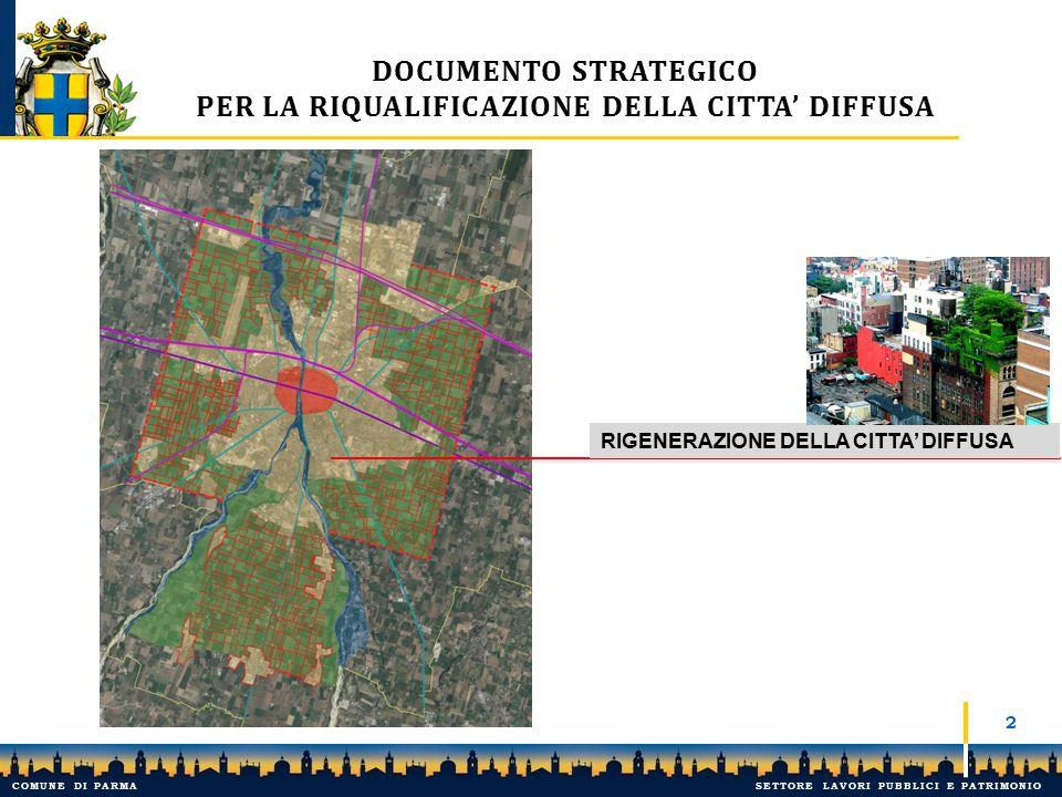 3 1.CONTENIMENTO DEL CONSUMO DI SUOLO 2.PROCESSI ESTESI DI RIGENERAZIONE URBANA E RIQUALIFICAZIONE EDILIZIA DOCUMENTO STRATEGICO PER LA RIQUALIFICAZIONE DELLA CITTA' DIFFUSA COMUNE DI PARMASETTORE LAVORI PUBBLICI E PATRIMONIO