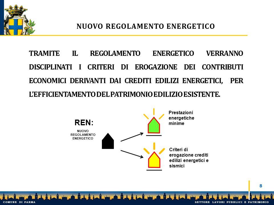 9 NUOVO REGOLAMENTO ENERGETICO: INCENTIVO VOLUMETRICO CHE SI DECLINA IN TERMINI PEREQUATIVI, EROGANDO L'ONERE DOVUTO IN FORME CONTRIBUTIVE A FAVORE DI PRIVATI - BANDO - PER LA RIQUALIFICAZIONE DELLA CITTÀ ESISTENTE: NASCE COSÌ IL CREDITO EDILIZIO ENERGETICO E SISMICO.
