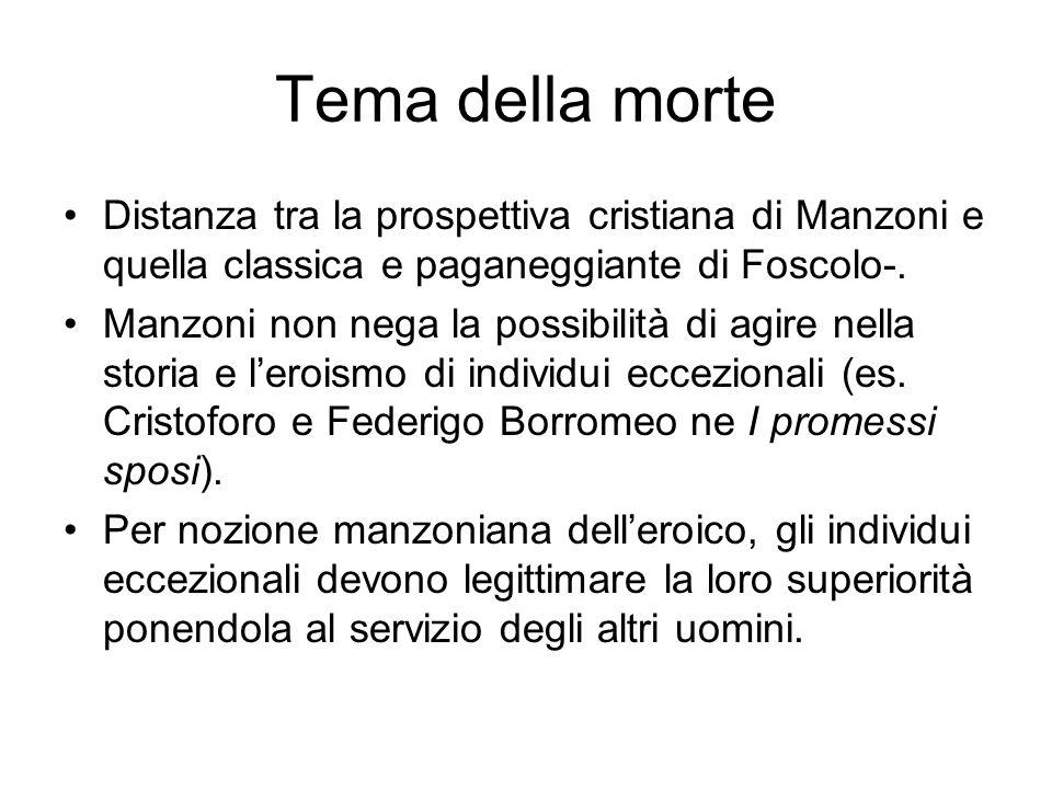 Tema della morte Distanza tra la prospettiva cristiana di Manzoni e quella classica e paganeggiante di Foscolo-.