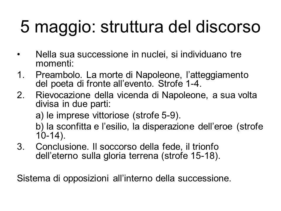 5 maggio: struttura del discorso Nella sua successione in nuclei, si individuano tre momenti: 1.Preambolo.
