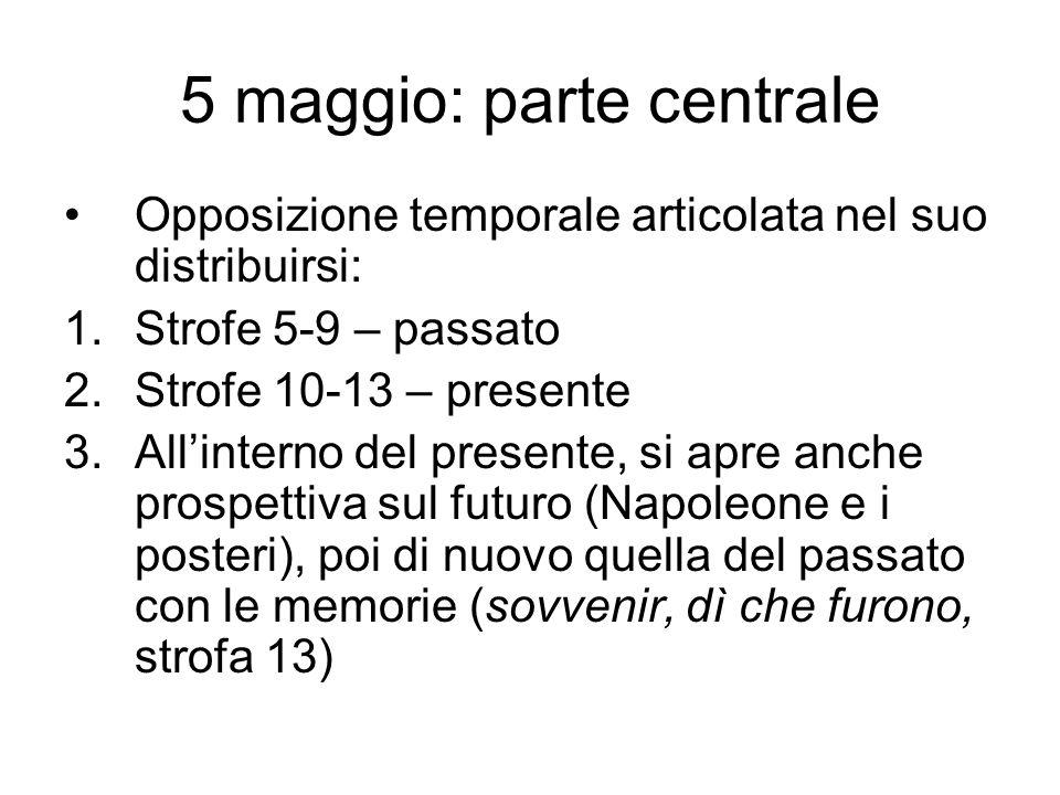 5 maggio: parte centrale Opposizione passato-presente ripropone, sviluppandola al massimo, opposizione rapidità dinamica-immobilità.