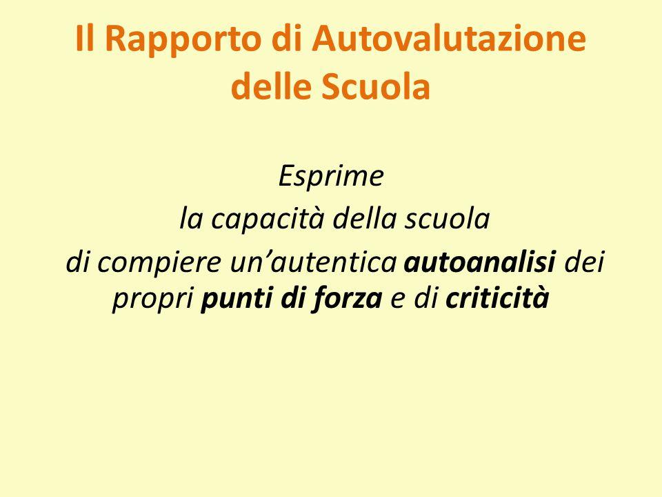 Il Rapporto di Autovalutazione delle Scuola Esprime la capacità della scuola di compiere un'autentica autoanalisi dei propri punti di forza e di criti