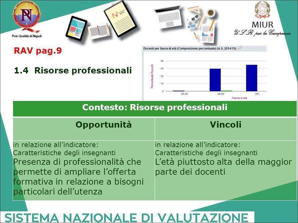 Contesto: Risorse professionali OpportunitàVincoli in relazione all'indicatore: Caratteristiche degli insegnanti Presenza di professionalità che perme