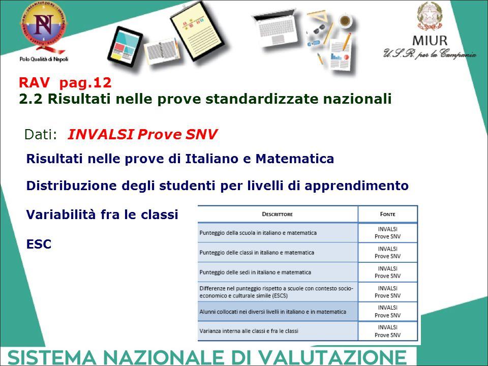 RAV pag.12 2.2 Risultati nelle prove standardizzate nazionali Dati: INVALSI Prove SNV Distribuzione degli studenti per livelli di apprendimento Variab
