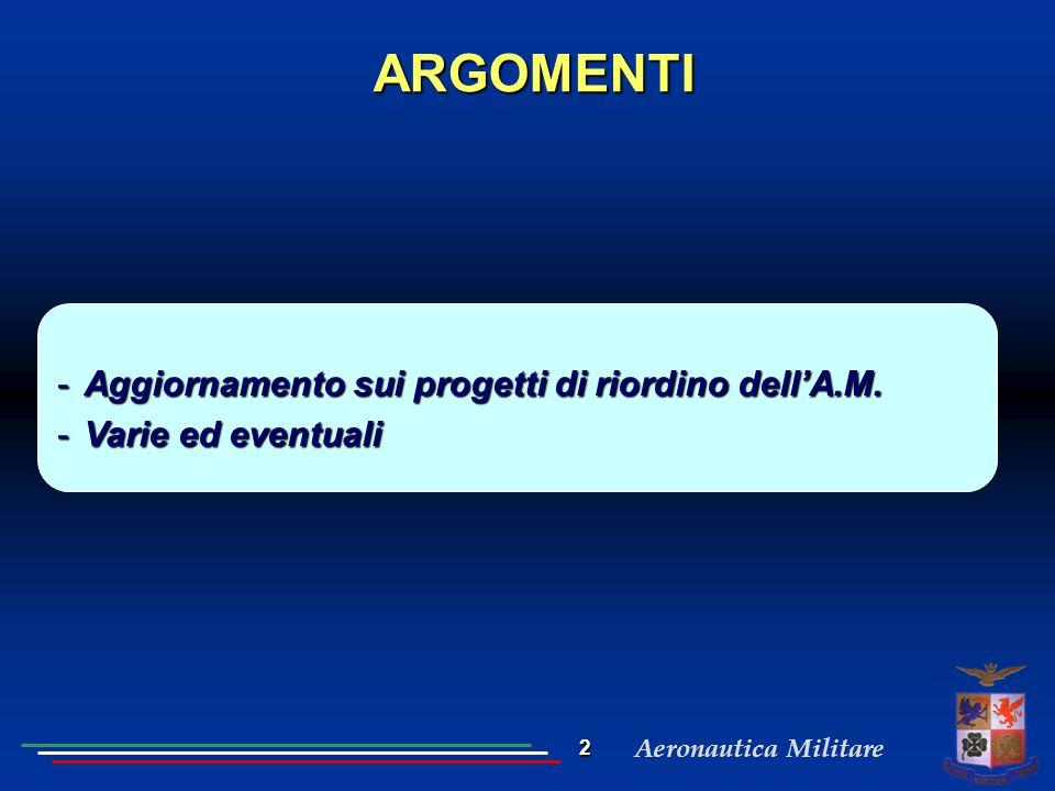 Aeronautica Militare ARGOMENTI -Aggiornamento sui progetti di riordino dell'A.M. -Varie ed eventuali 2