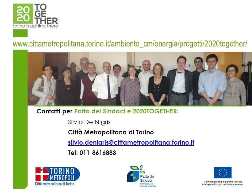 Contatti per Patto dei Sindaci e 2020TOGETHER: Silvio De Nigris Città Metropolitana di Torino silvio.denigris@cittametropolitana.torino.it Tel: 011 8616883 www.cittametropolitana.torino.it/ambiente_cm/energia/progetti/2020together/