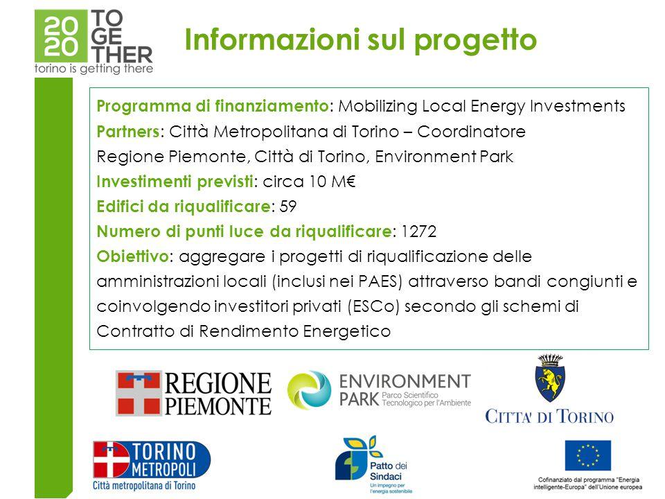 Programma di finanziamento : Mobilizing Local Energy Investments Partners : Città Metropolitana di Torino – Coordinatore Regione Piemonte, Città di Torino, Environment Park Investimenti previsti : circa 10 M€ Edifici da riqualificare : 59 Numero di punti luce da riqualificare : 1272 Obiettivo : aggregare i progetti di riqualificazione delle amministrazioni locali (inclusi nei PAES) attraverso bandi congiunti e coinvolgendo investitori privati (ESCo) secondo gli schemi di Contratto di Rendimento Energetico Informazioni sul progetto