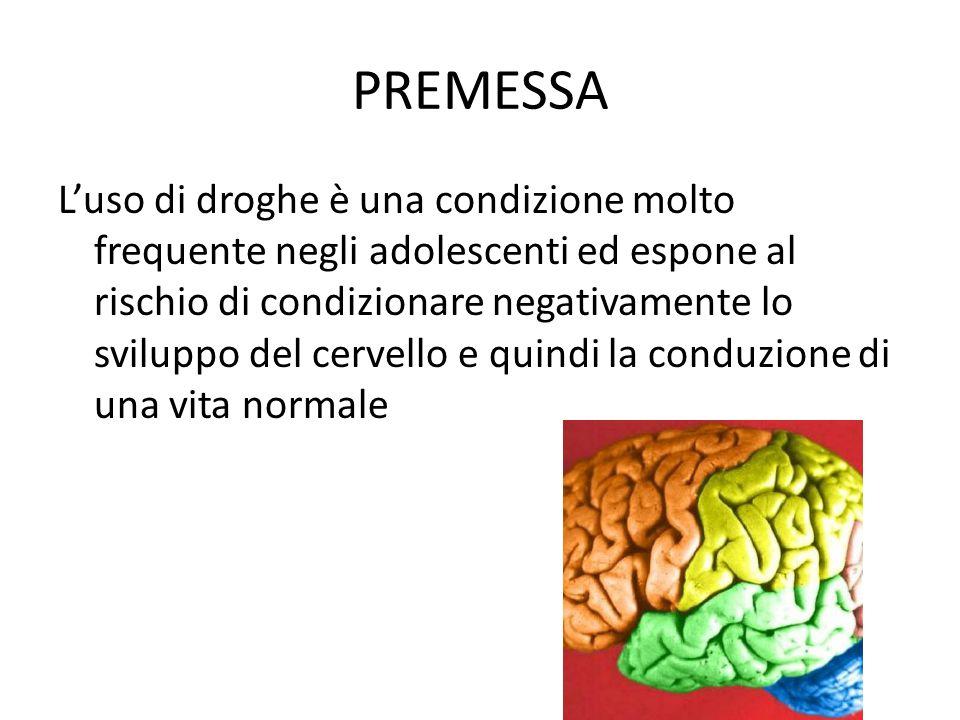 PREMESSA L'uso di droghe è una condizione molto frequente negli adolescenti ed espone al rischio di condizionare negativamente lo sviluppo del cervell