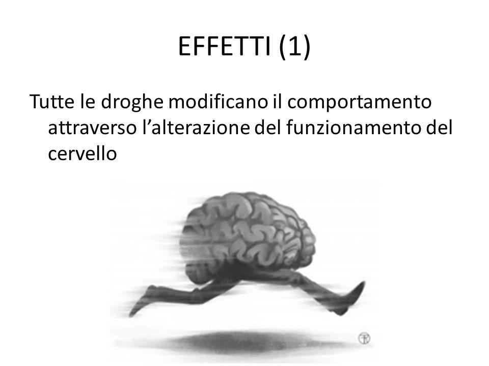 EFFETTI (1) Tutte le droghe modificano il comportamento attraverso l'alterazione del funzionamento del cervello