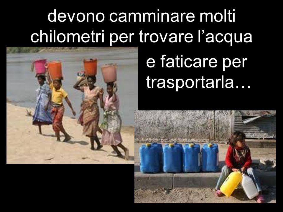 devono camminare molti chilometri per trovare l'acqua e faticare per trasportarla…