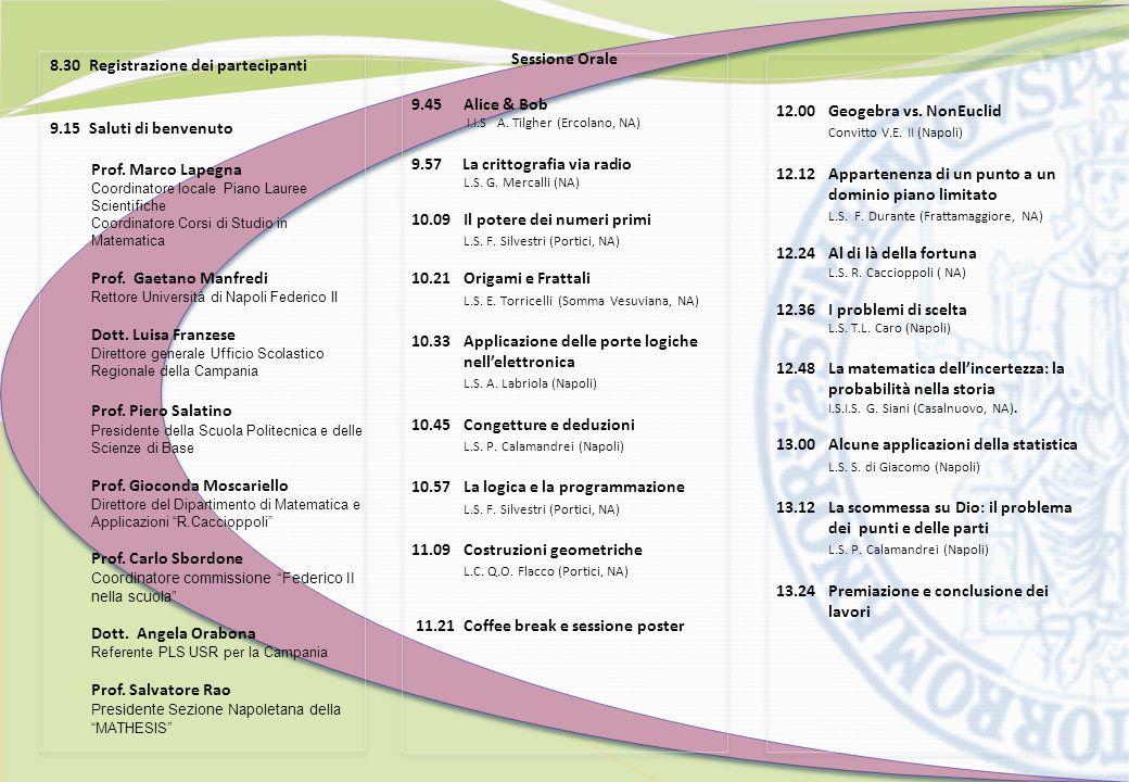 8.30 Registrazione dei partecipanti 9.15 Saluti di benvenuto Prof.