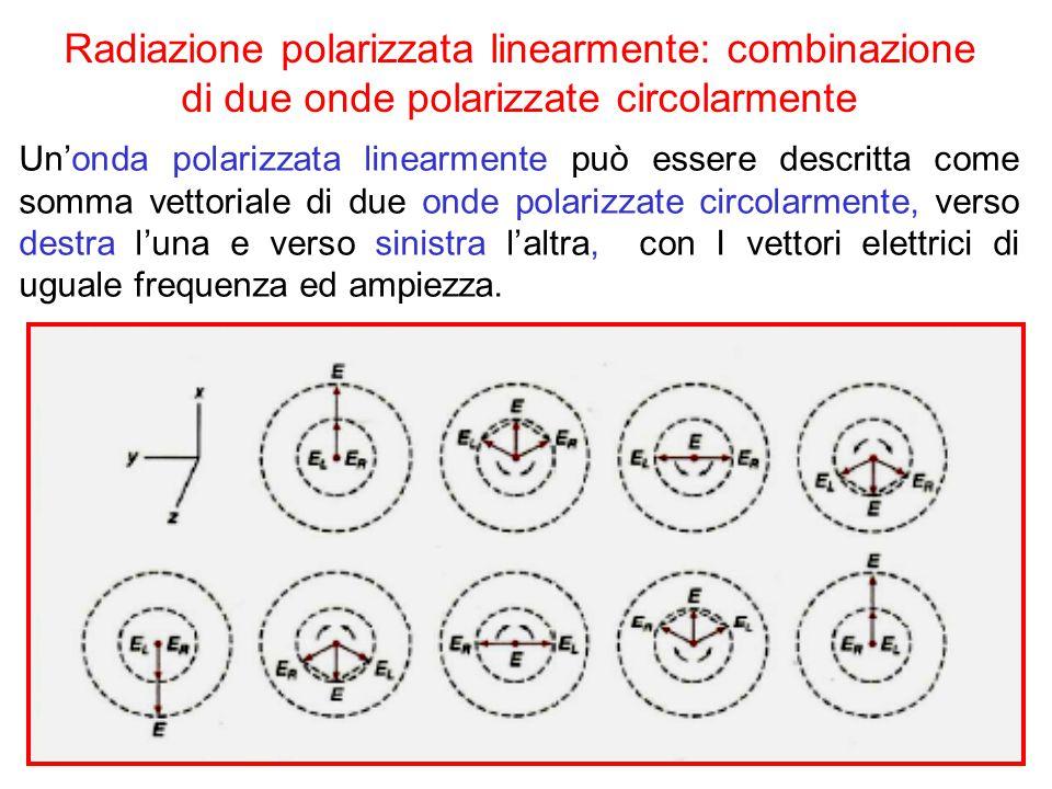 Radiazione polarizzata linearmente: combinazione di due onde polarizzate circolarmente Un'onda polarizzata linearmente può essere descritta come somma