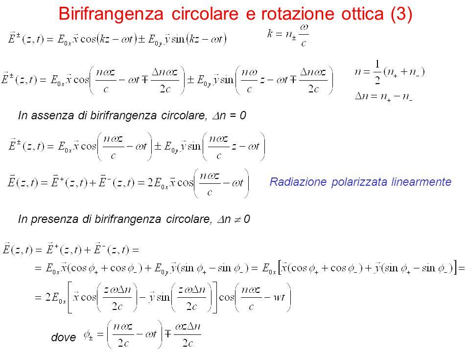 In assenza di birifrangenza circolare,  n = 0 In presenza di birifrangenza circolare,  n  0 Radiazione polarizzata linearmente Birifrangenza circol