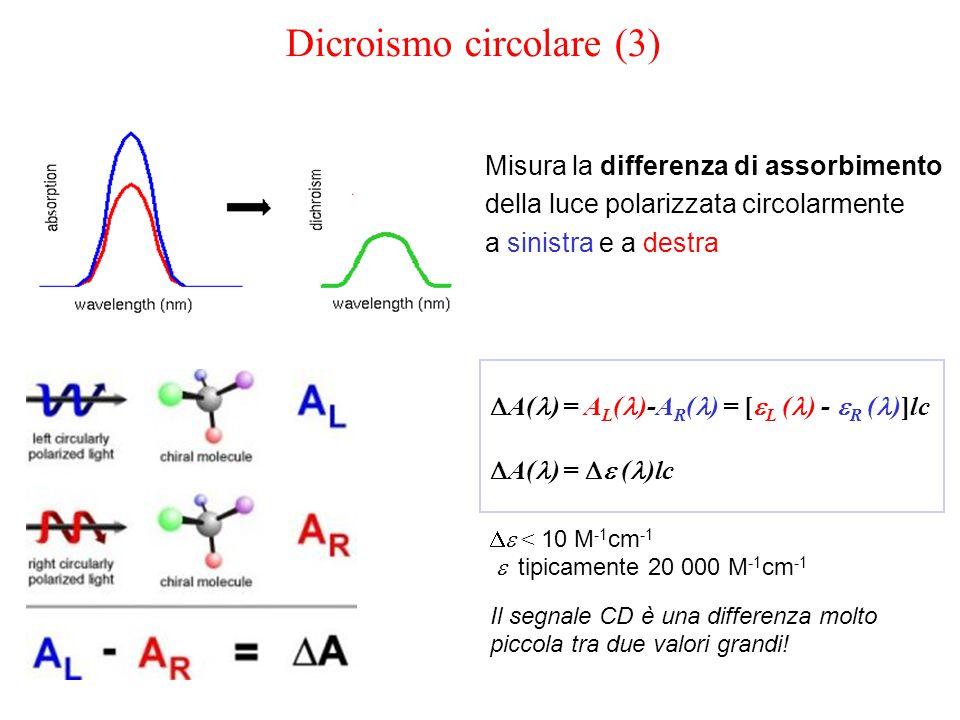 Misura la differenza di assorbimento della luce polarizzata circolarmente a sinistra e a destra  A( ) = A L ( )-A R ( ) = [  L  ( ) -  R  ( )]lc