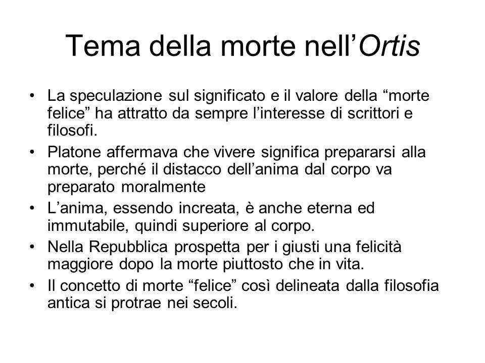 Tema della morte nell'Ortis Nelle Ultime lettere di Jacopo Ortis la morte è fortemente sostenuta dal protagonista.