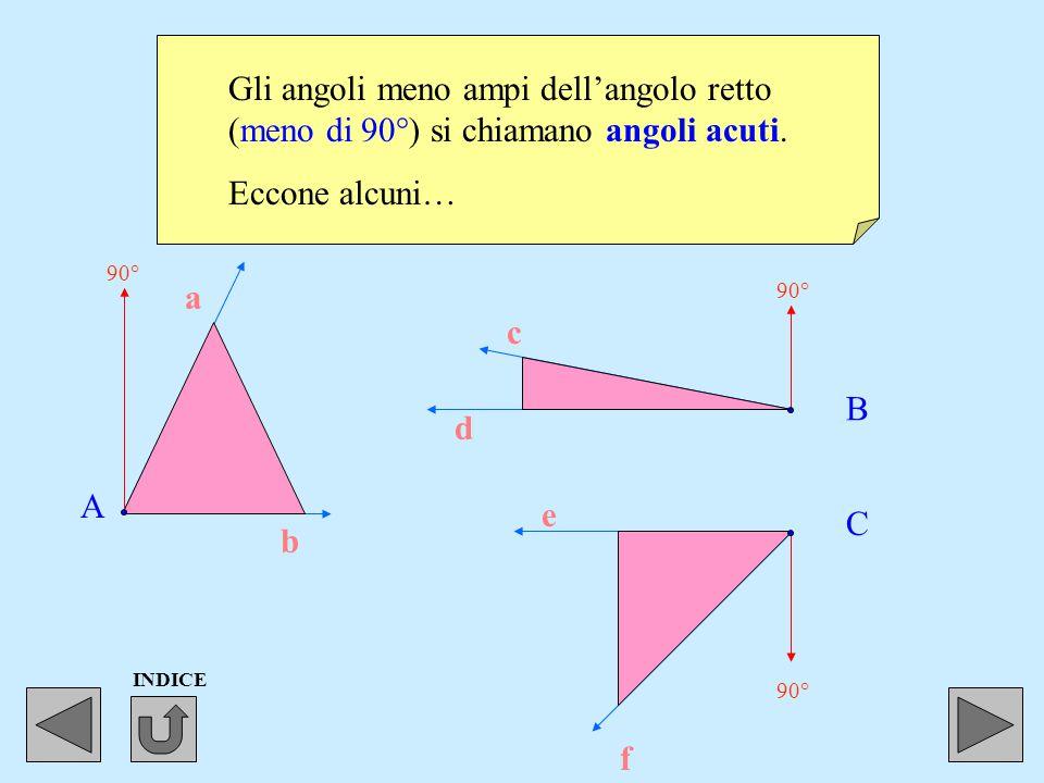 Gli angoli più ampi di un angolo retto (più di 90°), ma meno ampi di un angolo piatto (meno di 180°) si chiamano angoli ottusi. a b c d e f A 90° B C