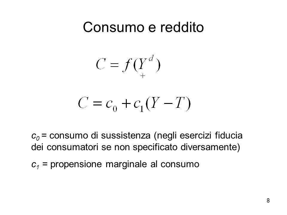 8 Consumo e reddito c 0 = consumo di sussistenza (negli esercizi fiducia dei consumatori se non specificato diversamente) c 1 = propensione marginale al consumo