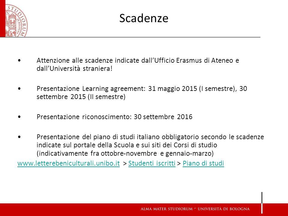Scadenze Attenzione alle scadenze indicate dall'Ufficio Erasmus di Ateneo e dall'Università straniera.