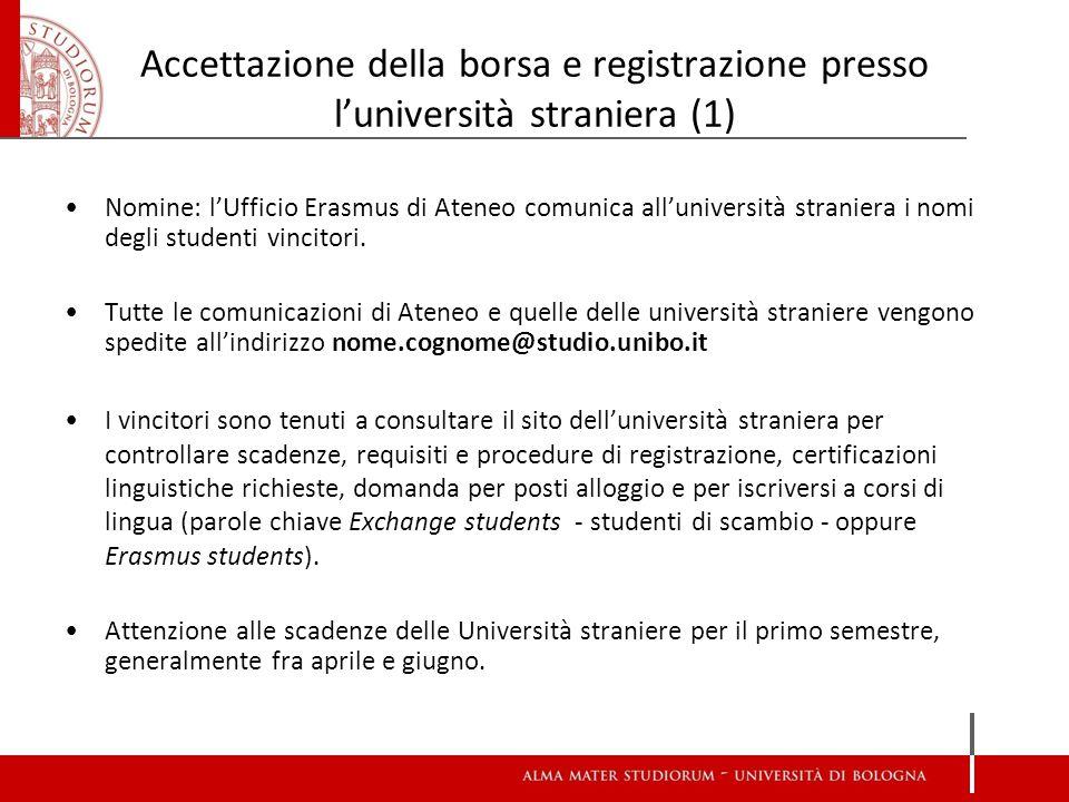 Accettazione della borsa e registrazione presso l'università straniera (1) Nomine: l'Ufficio Erasmus di Ateneo comunica all'università straniera i nomi degli studenti vincitori.