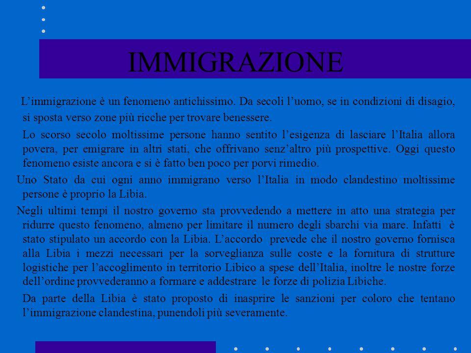 IMMIGRAZIONE L'immigrazione è un fenomeno antichissimo. Da secoli l'uomo, se in condizioni di disagio, si sposta verso zone più ricche per trovare ben