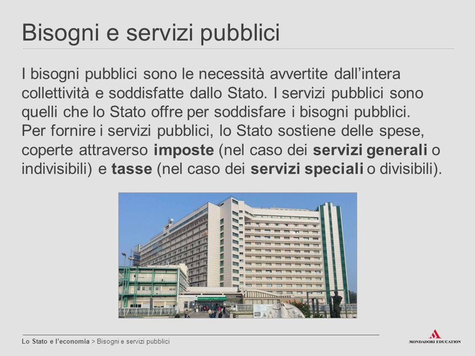 Bisogni e servizi pubblici Lo Stato e l'economia > Bisogni e servizi pubblici I bisogni pubblici sono le necessità avvertite dall'intera collettività
