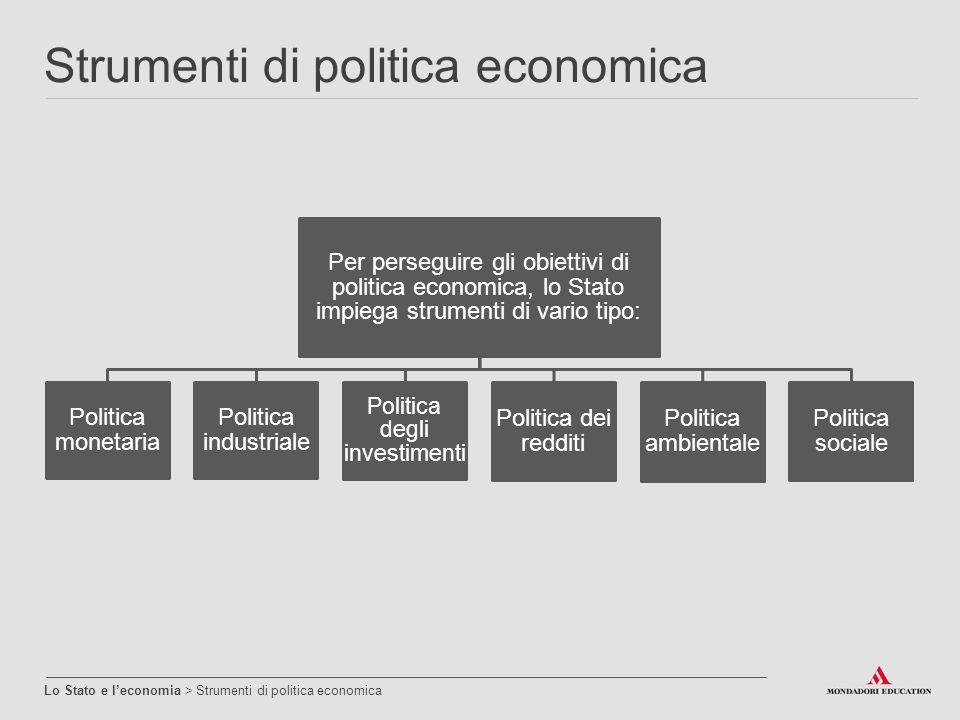 Strumenti di politica economica Lo Stato e l'economia > Strumenti di politica economica Per perseguire gli obiettivi di politica economica, lo Stato i